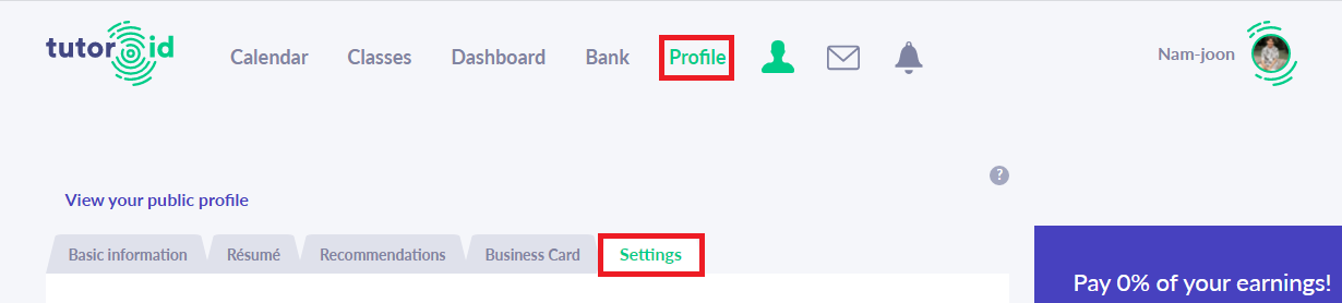 Fig. 1. Where can I change my profile settings?