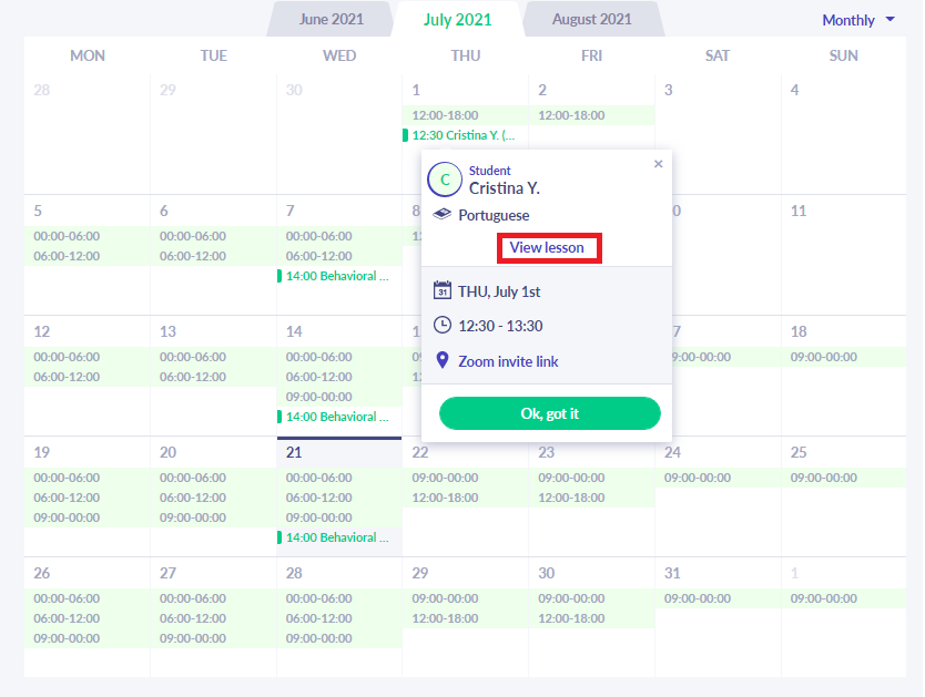 Fig. 6. Students Planner Option 2 /Calendar ==> Date of Lesson ==> Click on Lesson