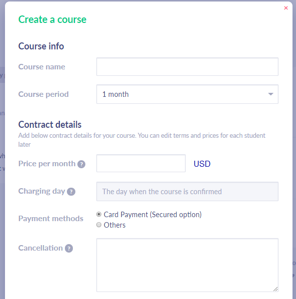 Fig. 2. Creating a course - part 1