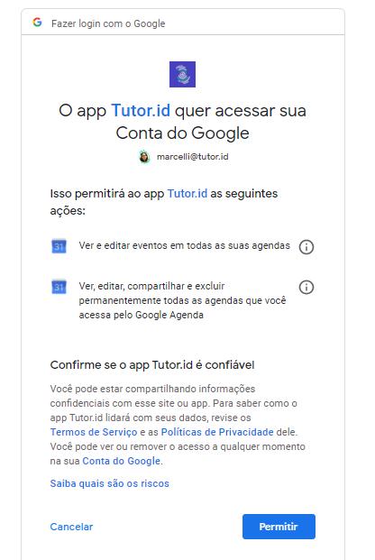 FIG. 6. Permita que Tutor.id tenha acesso aos seus dados do Google Agenda