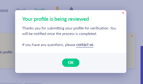 Fig. 8. While your profile is not approved...