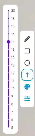 If you click the line settings icon, you are presented with the line thickness slider. By default this is set to 5. You can click and drag the slider or click near the size you want to skip larger steps