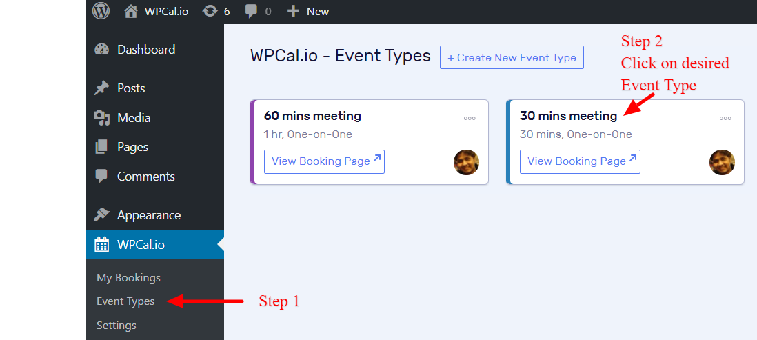 Click on the desired Event Type