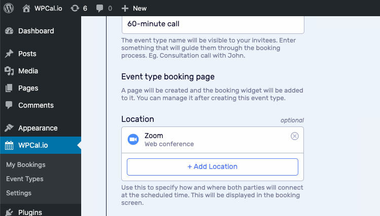 Zoom is added to your Event Type