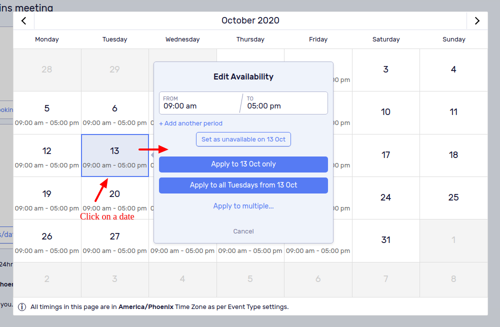 Click on the desired date a popup appears