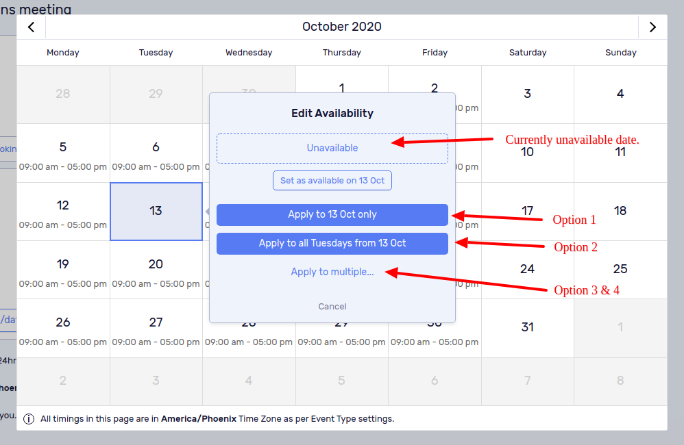 Select the date which is already marked as unavailable.