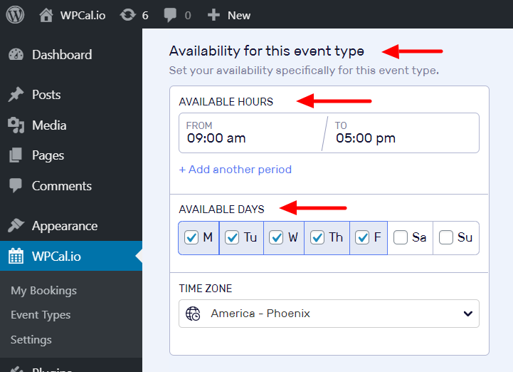 Locate availability hours and availability days