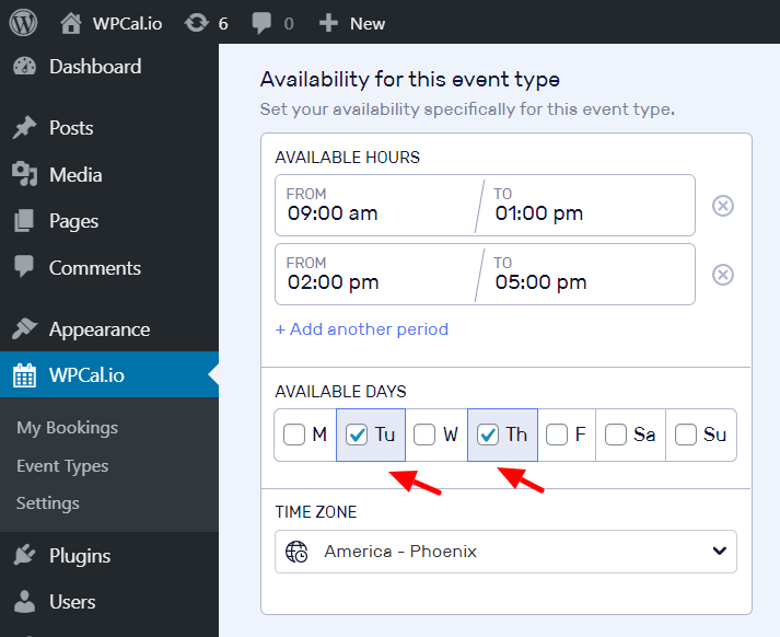 Select desired availability days