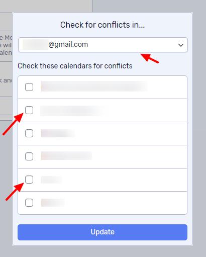 Choose one or more calendars across multiple calendar accounts.