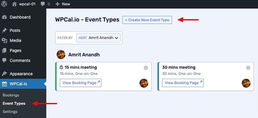 Click on Create New Event Type