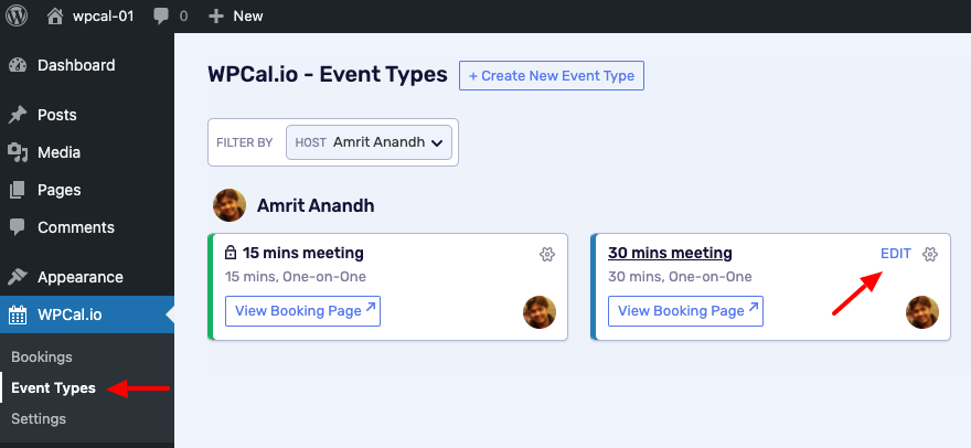Choose the desired Event type