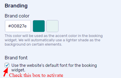 Check this box to activate font inheriting.
