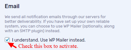Check the box to activate sending mail to through WP Mail.