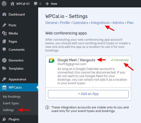 Settings Integrations & Google Meet connection status