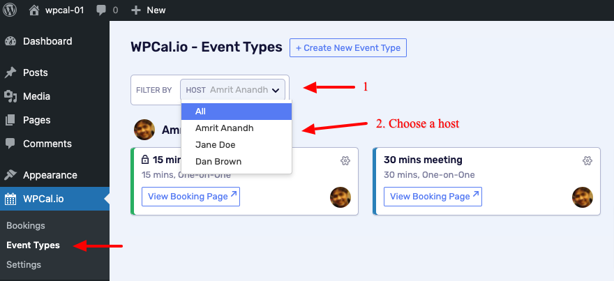 Click on the host filter and choose the desired host.
